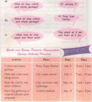 Unit 6: THE YOUNG PIONEERS CLUB – Câu lạc bộ Thiếu niên Tiền phong. Hướng dẫn giải bài tập số 1, 2, 3 trang 60 SGK Tiếng anh lớp 8 cơ bản.