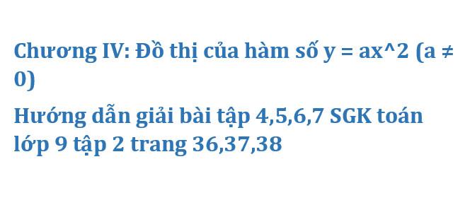 Chương IV: Đồ thị của hàm số y = ax^2 (a ≠ 0) – Hướng dẫn giải bài tập 4,5,6,7 SGK toán lớp 9 tập 2 trang 36,37,38