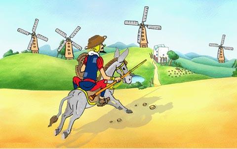 """Hãy tóm tắt cảnh """"đánh nhau với cối xay gió """" trong tác phẩm Đôn Ki-hô-tê của Xec – van – tex"""