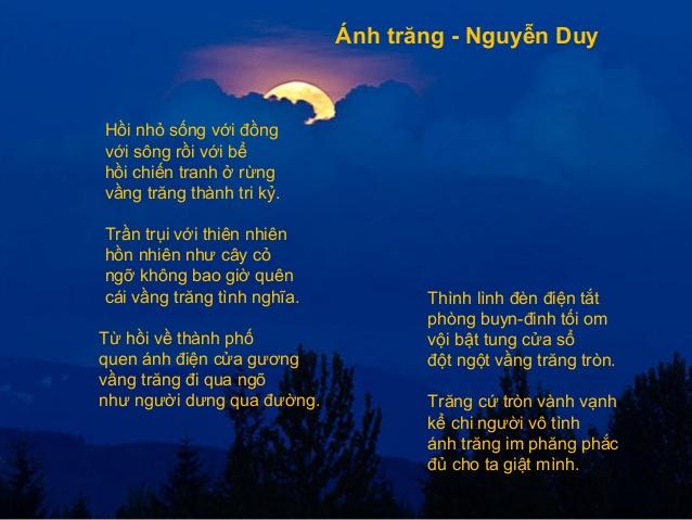 Hình ảnh ánh trăng trong bài thơ Ánh trăng của Nguyễn Duy
