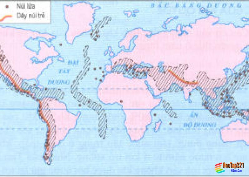 Thực hành nhận xét sự phân bố các vành đai động đất, núi lửa và các vùng núi trẻ